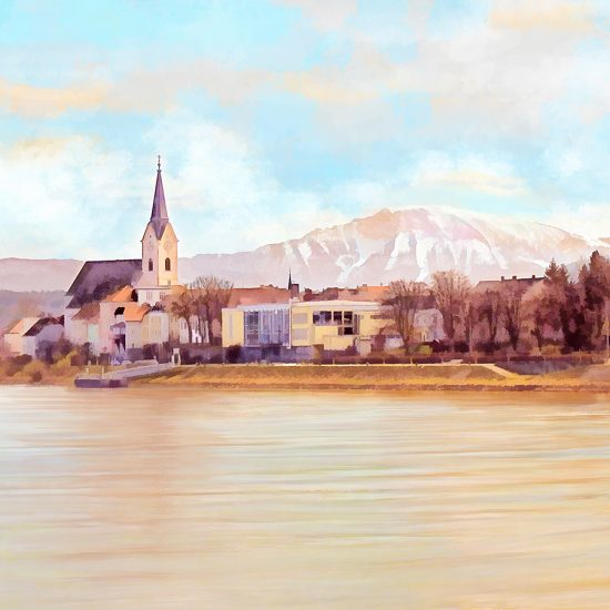 'Ybbs an der Donau mit Oetscher' - Digital Art Painting in a Watercolor Aquarell Style by Menega Sabidussi. River Danube shore view of the town Ybbs an der Donau in Lower Austria on a sunny day with bright blue sky and a clear view of the Oetscher mountain peak in the background. ---- (C) Menega Sabidussi. All rights reserved. http://menegaSabidussi.com http://sabidussi.at